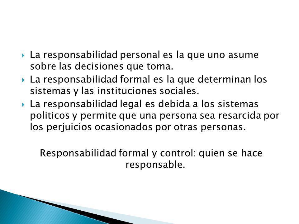 Responsabilidad formal y control: quien se hace responsable.