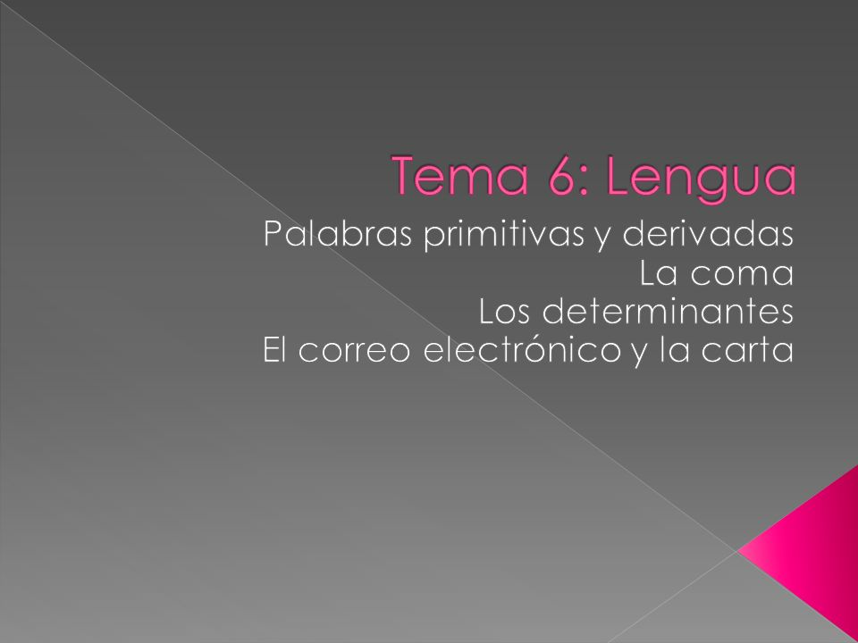 Tema 6: Lengua Palabras primitivas y derivadas La coma