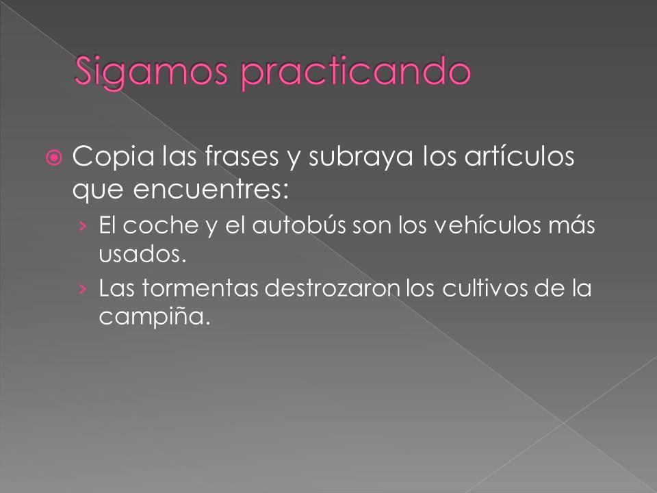 Sigamos practicando Copia las frases y subraya los artículos que encuentres: El coche y el autobús son los vehículos más usados.