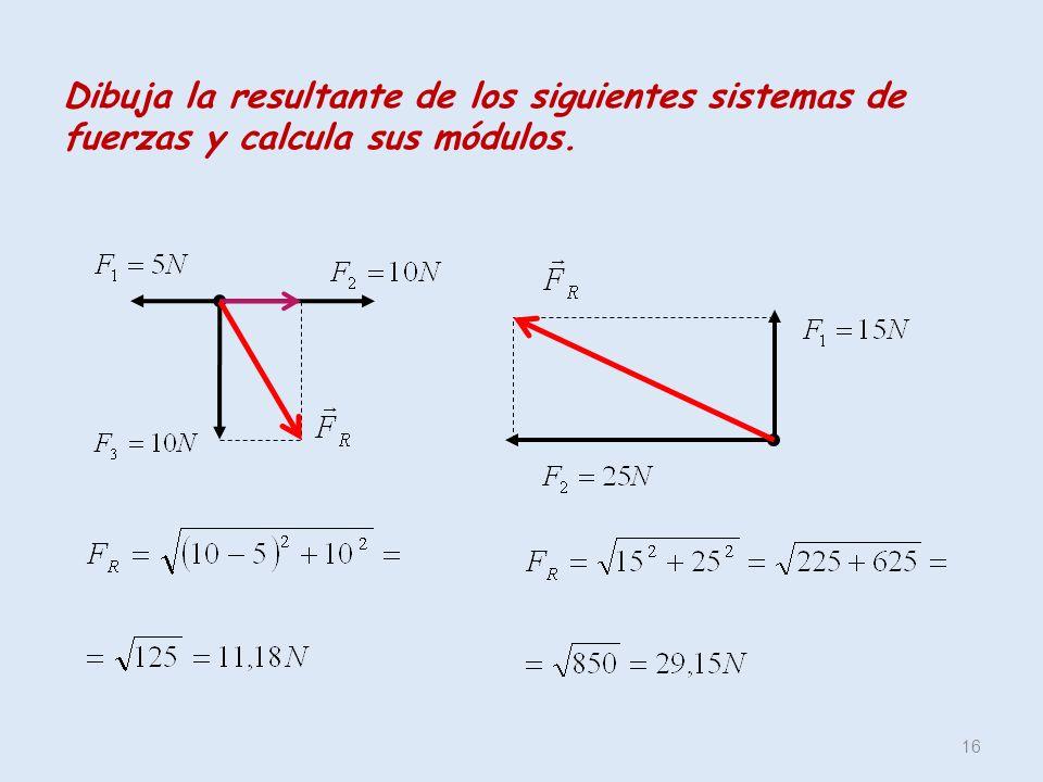 Dibuja la resultante de los siguientes sistemas de fuerzas y calcula sus módulos.