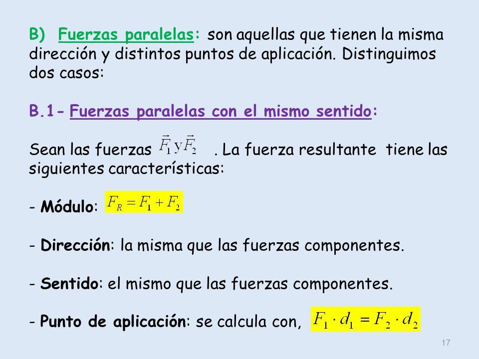 B) Fuerzas paralelas: son aquellas que tienen la misma dirección y distintos puntos de aplicación.