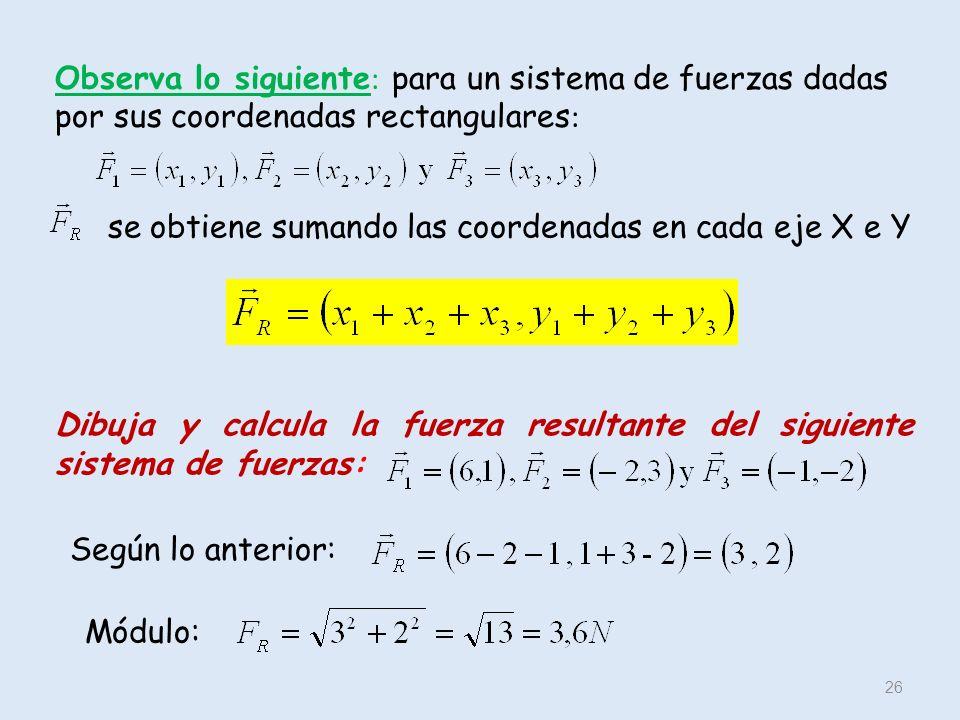 Observa lo siguiente: para un sistema de fuerzas dadas por sus coordenadas rectangulares: