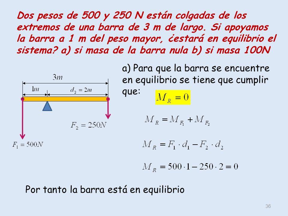 Dos pesos de 500 y 250 N están colgadas de los extremos de una barra de 3 m de largo. Si apoyamos la barra a 1 m del peso mayor, ¿estará en equilibrio el sistema a) si masa de la barra nula b) si masa 100N