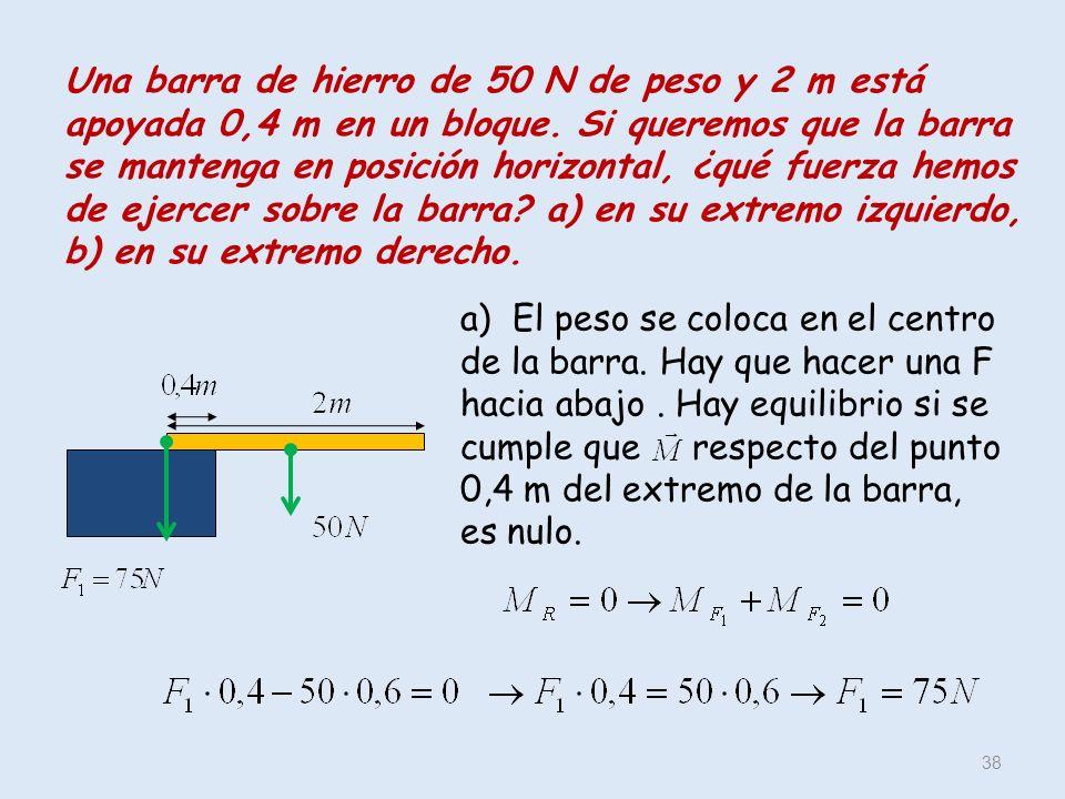 Una barra de hierro de 50 N de peso y 2 m está apoyada 0,4 m en un bloque. Si queremos que la barra se mantenga en posición horizontal, ¿qué fuerza hemos de ejercer sobre la barra a) en su extremo izquierdo, b) en su extremo derecho.