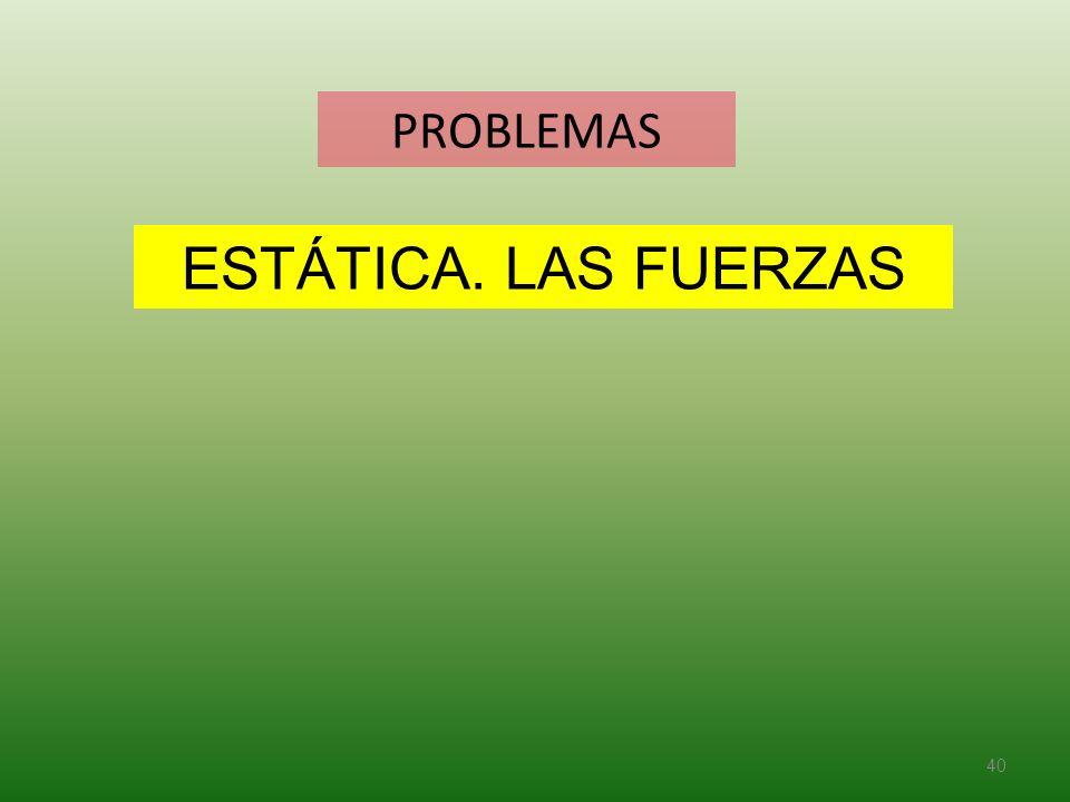PROBLEMAS ESTÁTICA. LAS FUERZAS
