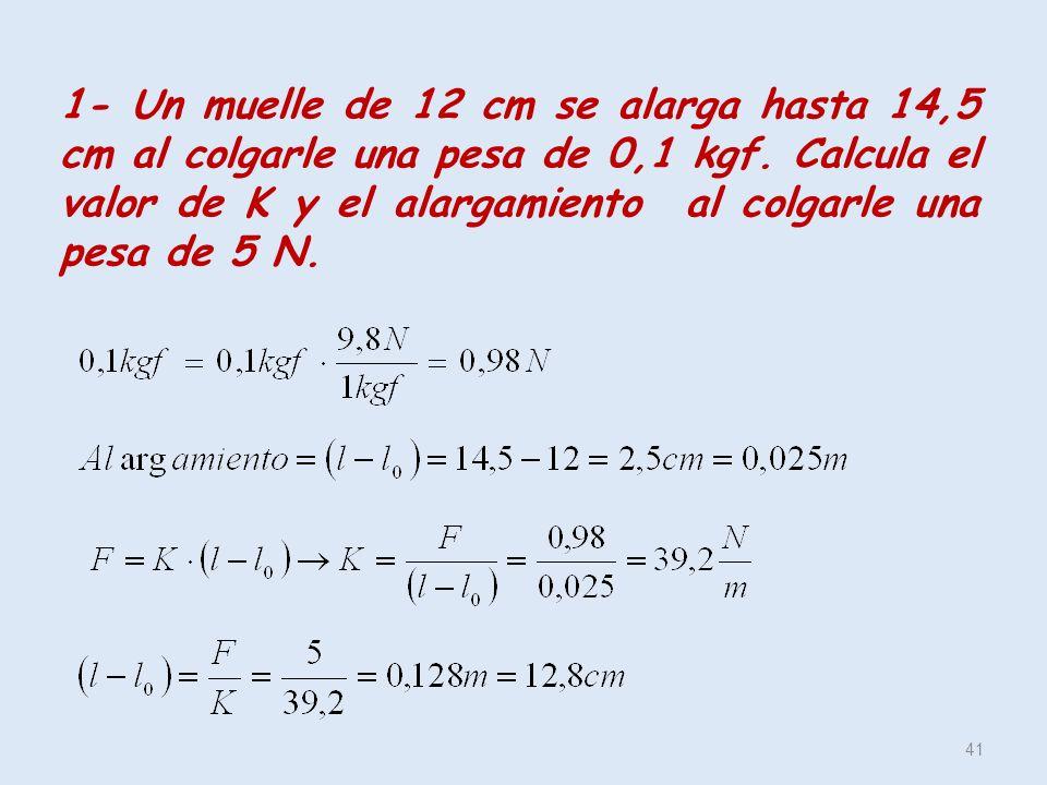 1- Un muelle de 12 cm se alarga hasta 14,5 cm al colgarle una pesa de 0,1 kgf.