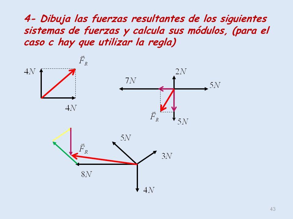 4- Dibuja las fuerzas resultantes de los siguientes sistemas de fuerzas y calcula sus módulos, (para el caso c hay que utilizar la regla)
