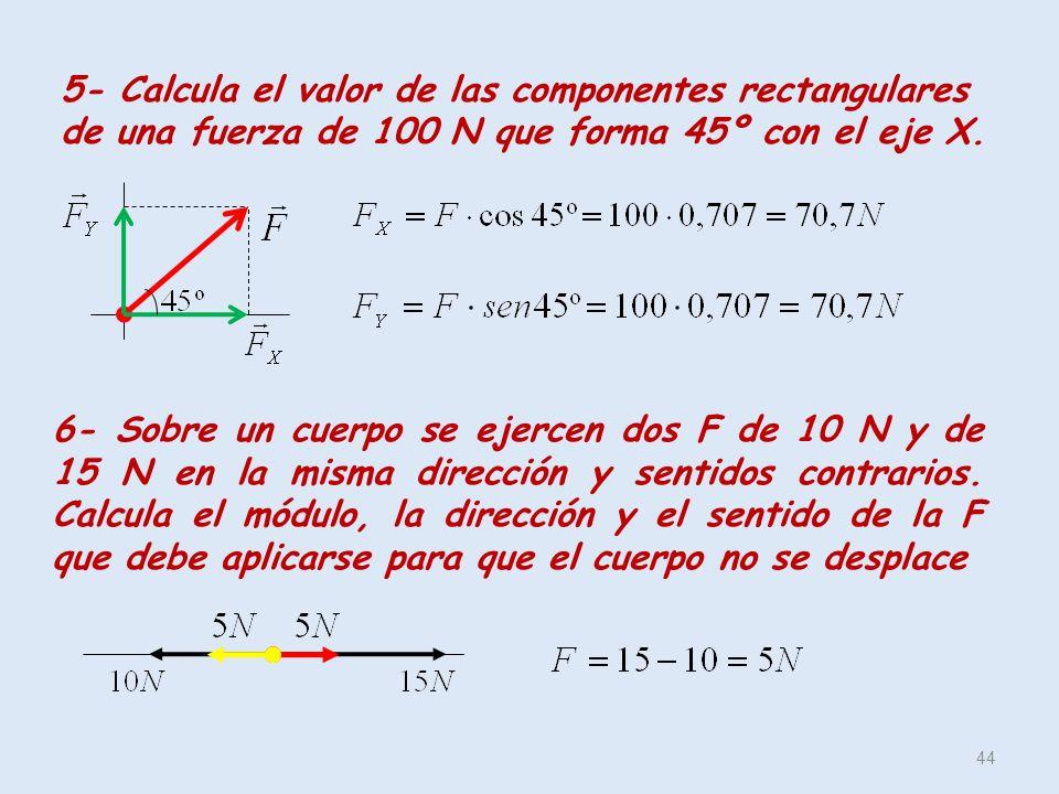 5- Calcula el valor de las componentes rectangulares de una fuerza de 100 N que forma 45º con el eje X.