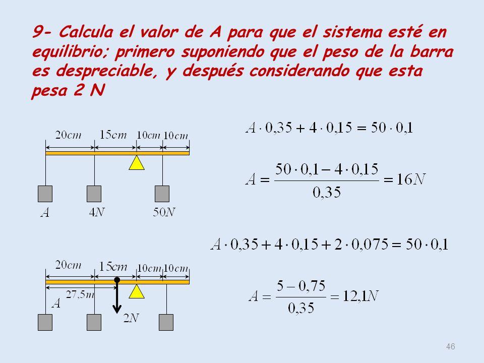 9- Calcula el valor de A para que el sistema esté en equilibrio; primero suponiendo que el peso de la barra es despreciable, y después considerando que esta pesa 2 N