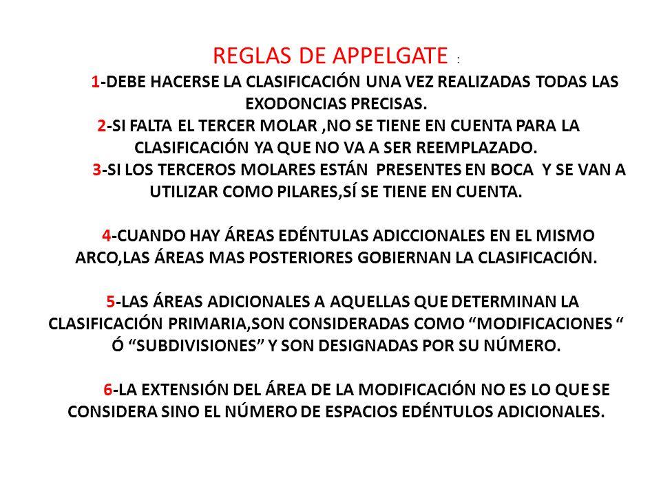 REGLAS DE APPELGATE : 1-DEBE HACERSE LA CLASIFICACIÓN UNA VEZ REALIZADAS TODAS LAS EXODONCIAS PRECISAS.