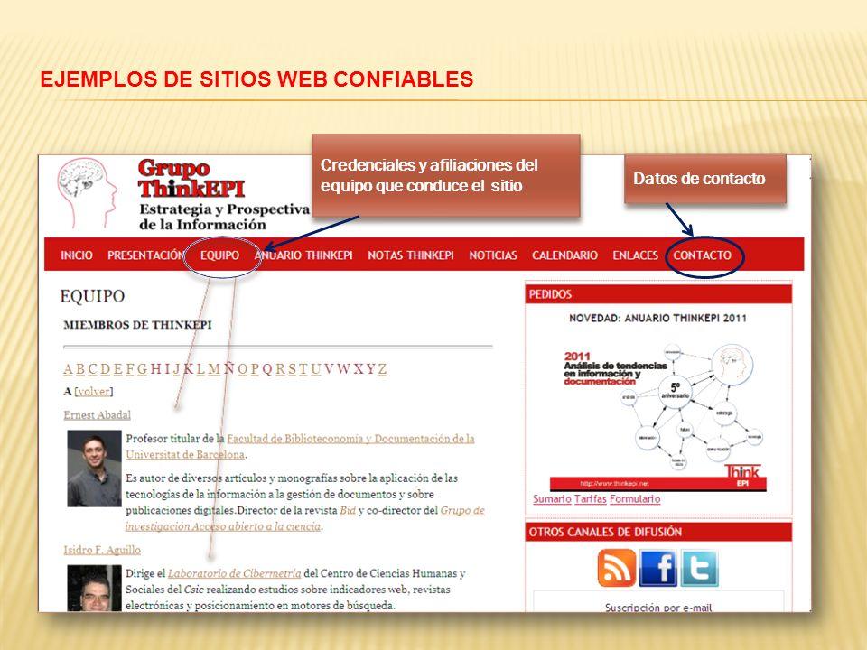 EJEMPLOS DE SITIOS WEB CONFIABLES