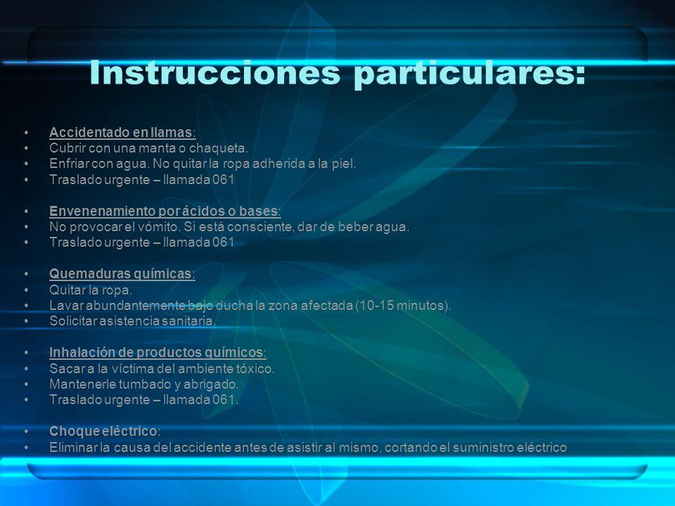 Instrucciones particulares: