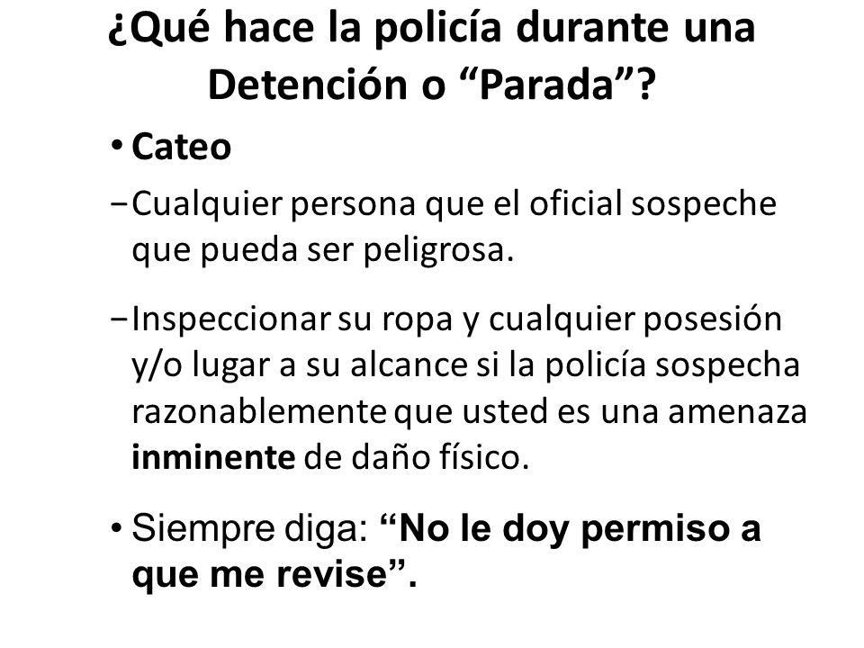 ¿Qué hace la policía durante una Detención o Parada