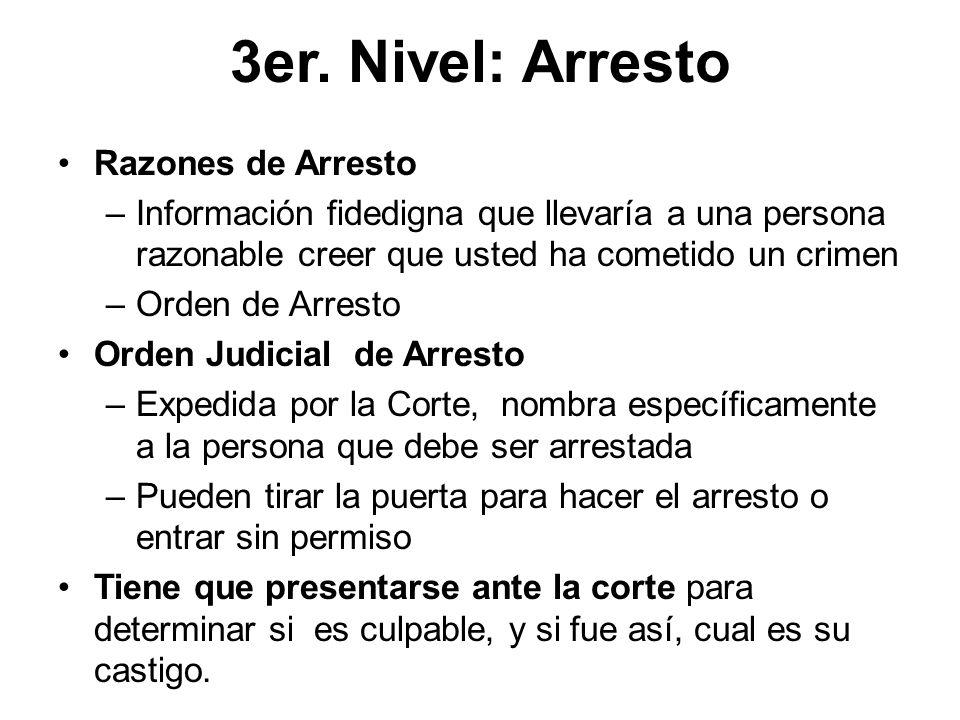 3er. Nivel: Arresto Razones de Arresto