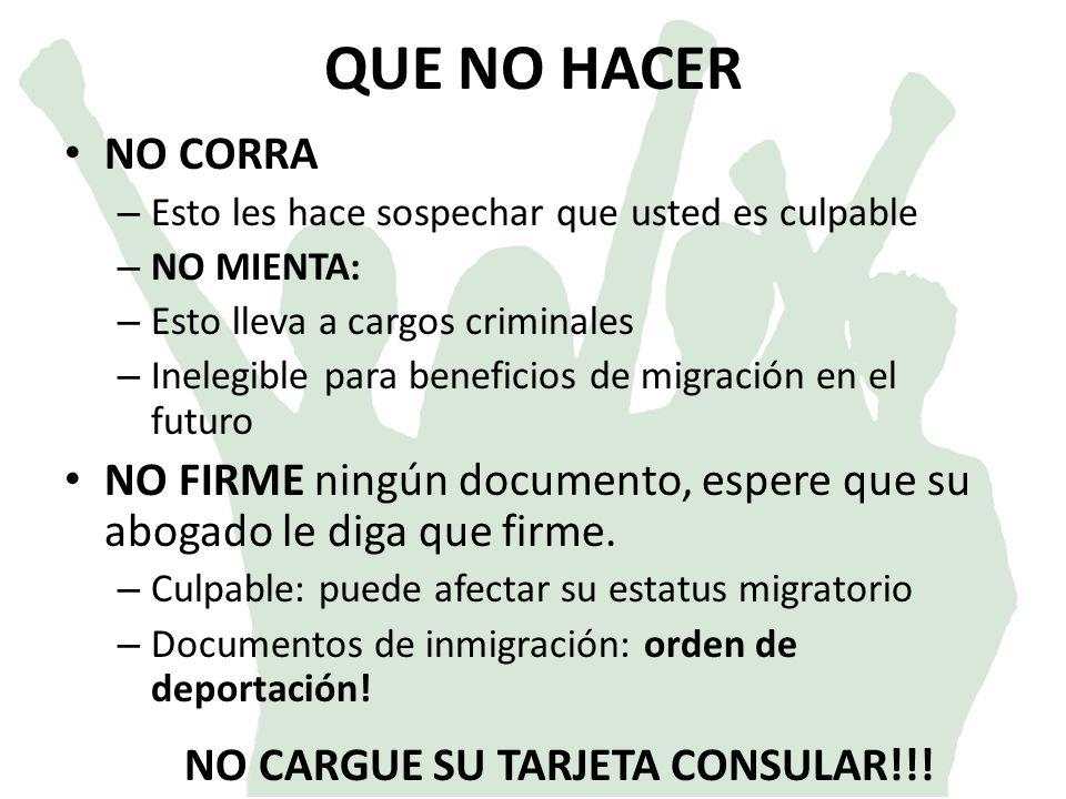 NO CARGUE SU TARJETA CONSULAR!!!
