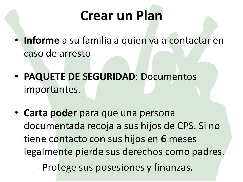Crear un Plan Informe a su familia a quien va a contactar en caso de arresto. PAQUETE DE SEGURIDAD: Documentos importantes.