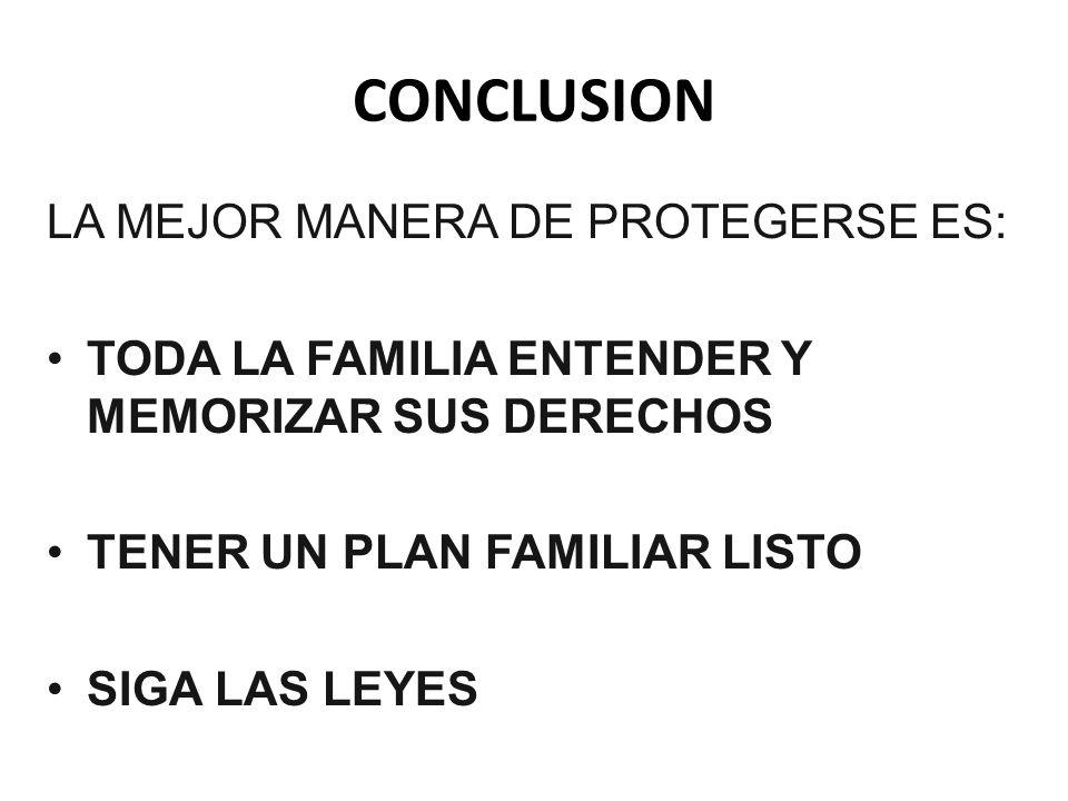 CONCLUSION LA MEJOR MANERA DE PROTEGERSE ES: