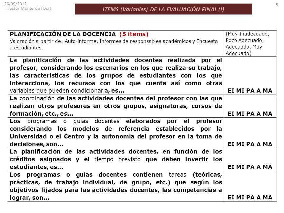ITEMS (Variables) DE LA EVALUACIÓN FINAL (I)