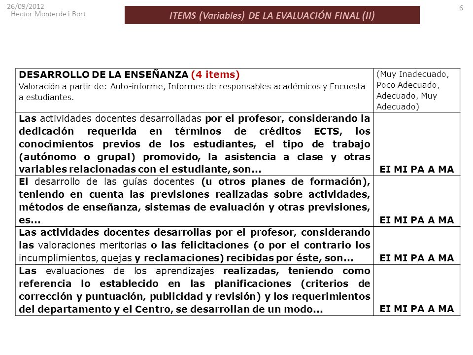 ITEMS (Variables) DE LA EVALUACIÓN FINAL (II)