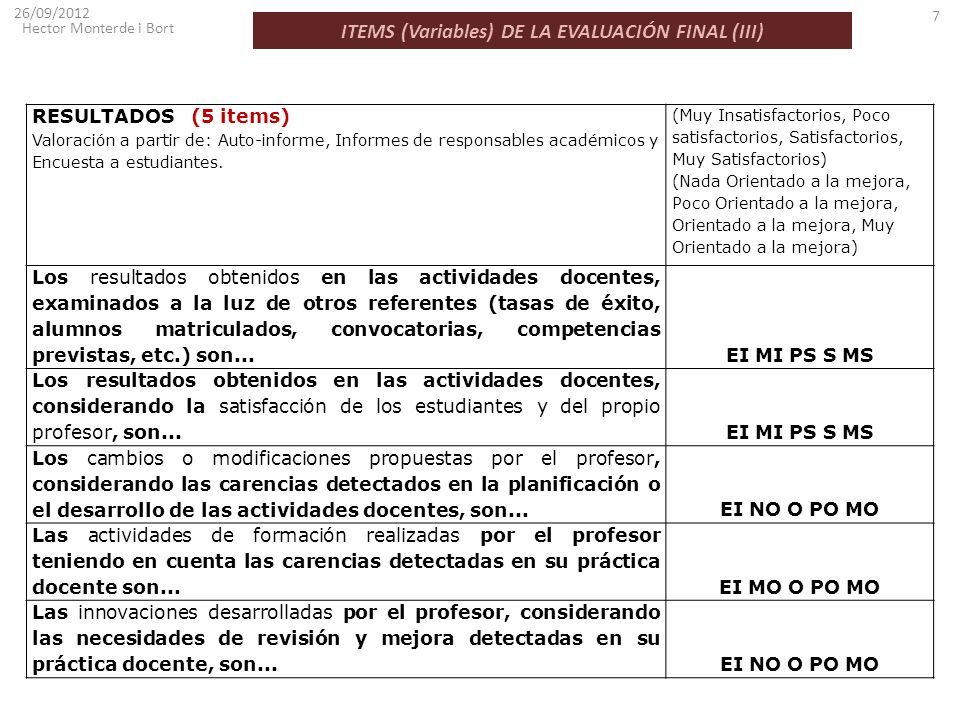 ITEMS (Variables) DE LA EVALUACIÓN FINAL (III)