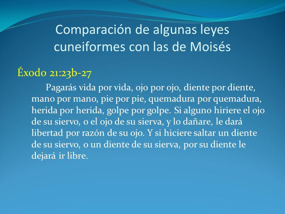 Comparación de algunas leyes cuneiformes con las de Moisés