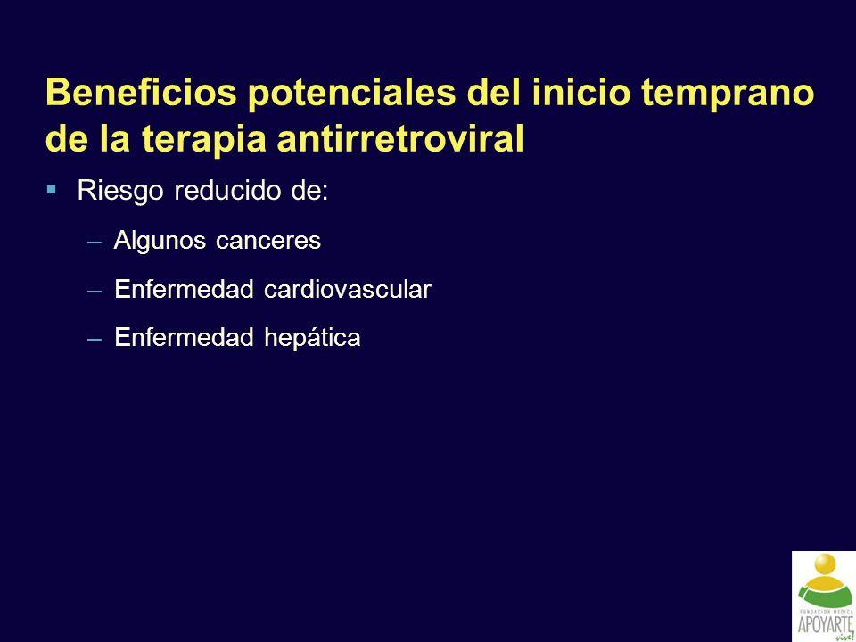 Beneficios potenciales del inicio temprano de la terapia antirretroviral