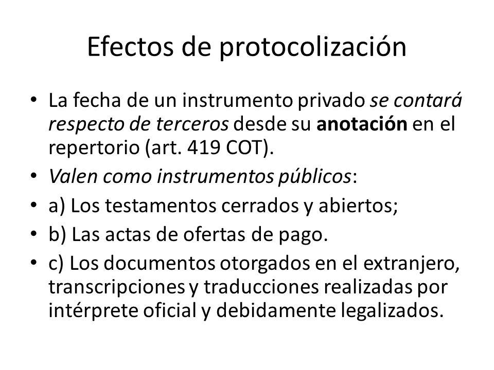 Efectos de protocolización