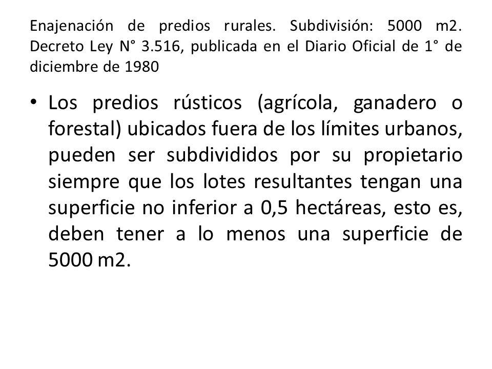 Enajenación de predios rurales. Subdivisión: 5000 m2. Decreto Ley N° 3