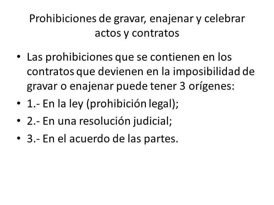 Prohibiciones de gravar, enajenar y celebrar actos y contratos