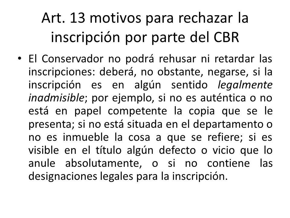 Art. 13 motivos para rechazar la inscripción por parte del CBR