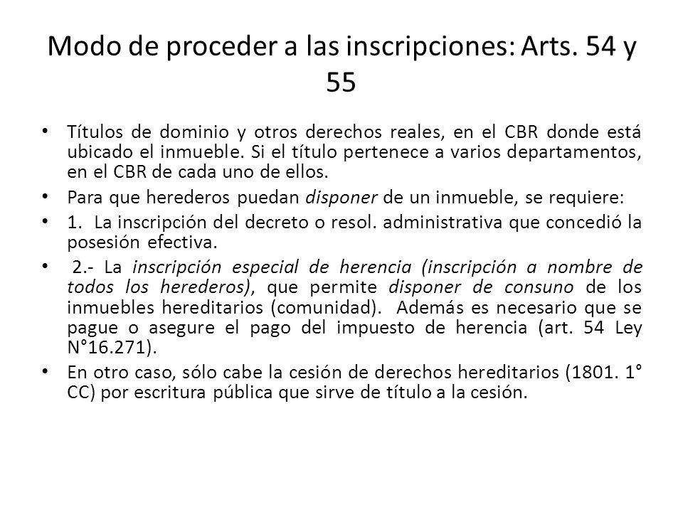 Modo de proceder a las inscripciones: Arts. 54 y 55