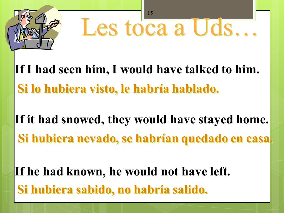 Les toca a Uds… If I had seen him, I would have talked to him.