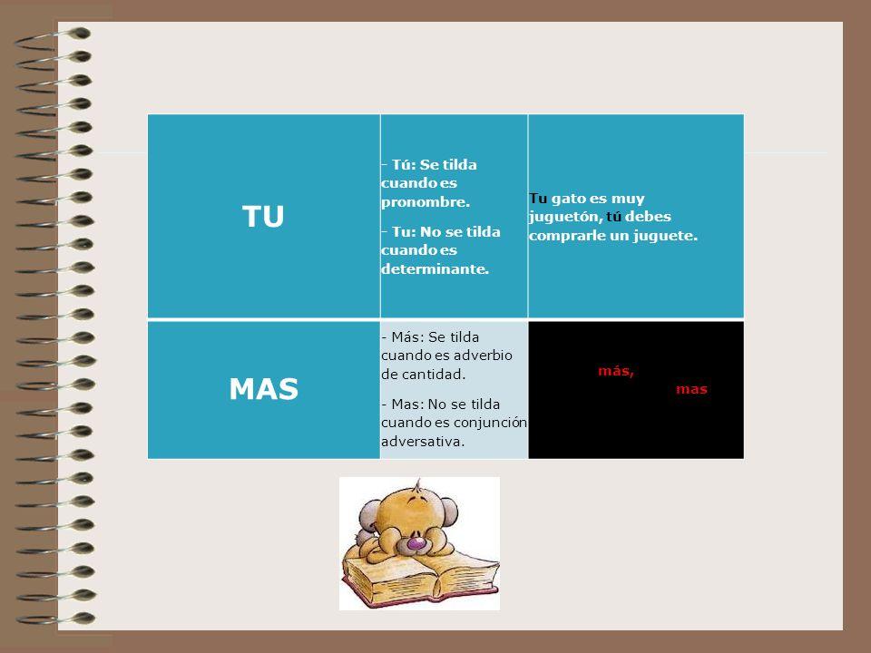 TU MAS - Tú: Se tilda cuando es pronombre.