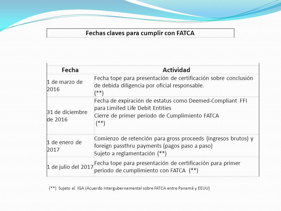 Fechas claves para cumplir con FATCA