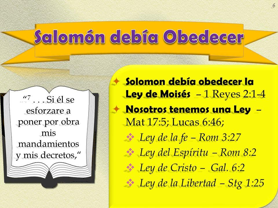Salomón debía Obedecer