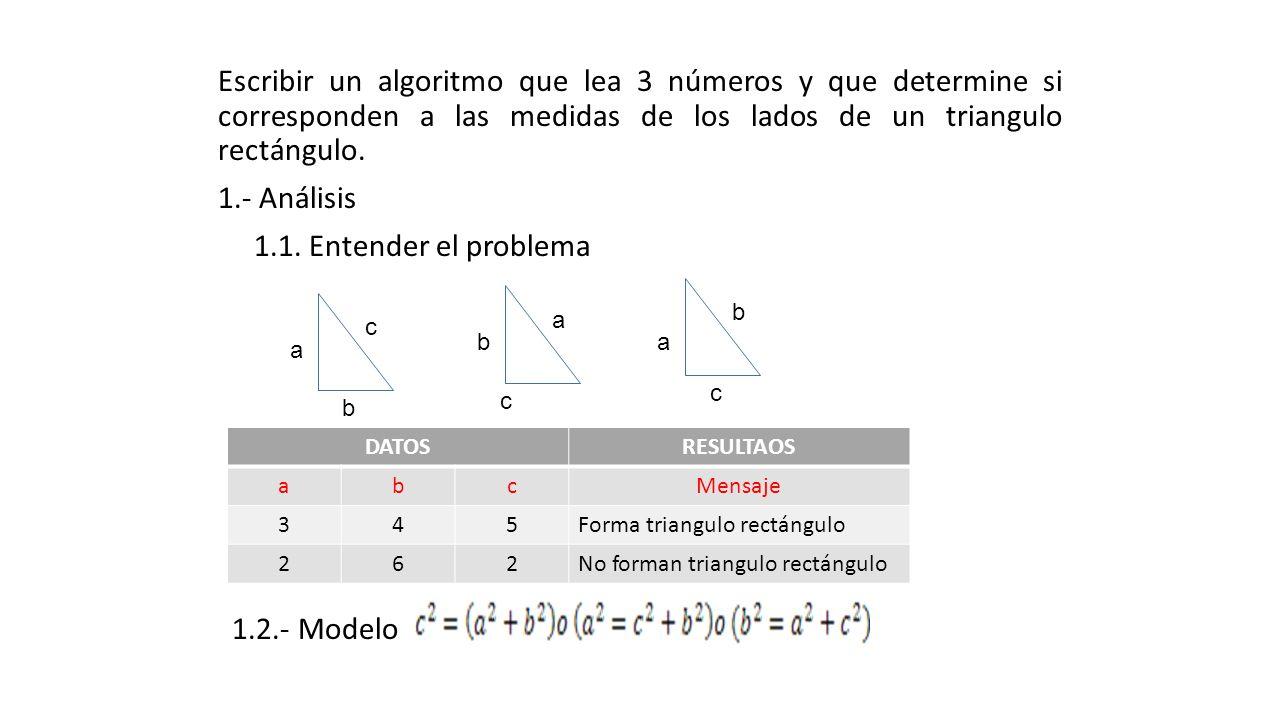 Escribir un algoritmo que lea 3 números y que determine si corresponden a las medidas de los lados de un triangulo rectángulo. 1.- Análisis 1.1. Entender el problema 1.2.- Modelo