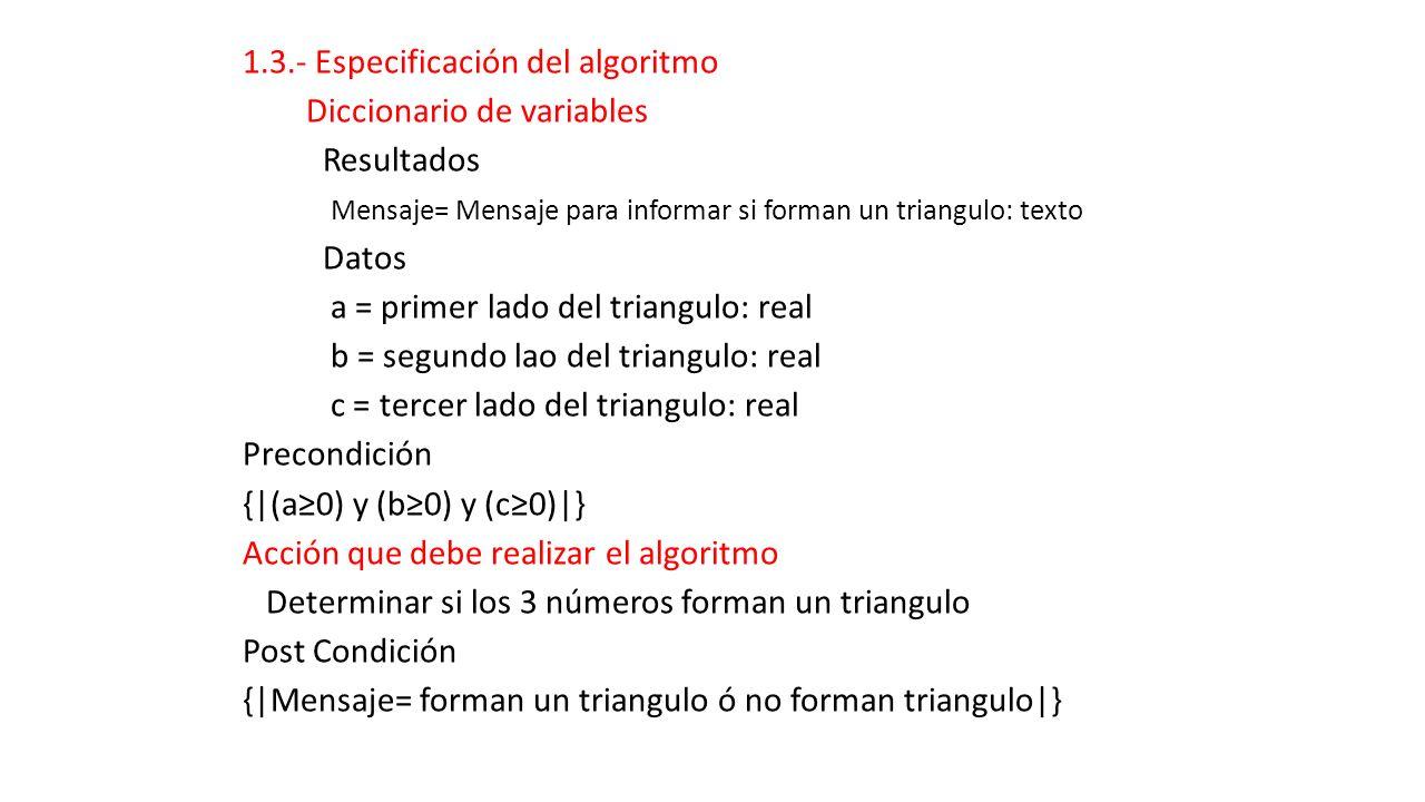 1.3.- Especificación del algoritmo Diccionario de variables Resultados Mensaje= Mensaje para informar si forman un triangulo: texto Datos a = primer lado del triangulo: real b = segundo lao del triangulo: real c = tercer lado del triangulo: real Precondición {|(a≥0) y (b≥0) y (c≥0)|} Acción que debe realizar el algoritmo Determinar si los 3 números forman un triangulo Post Condición {|Mensaje= forman un triangulo ó no forman triangulo|}