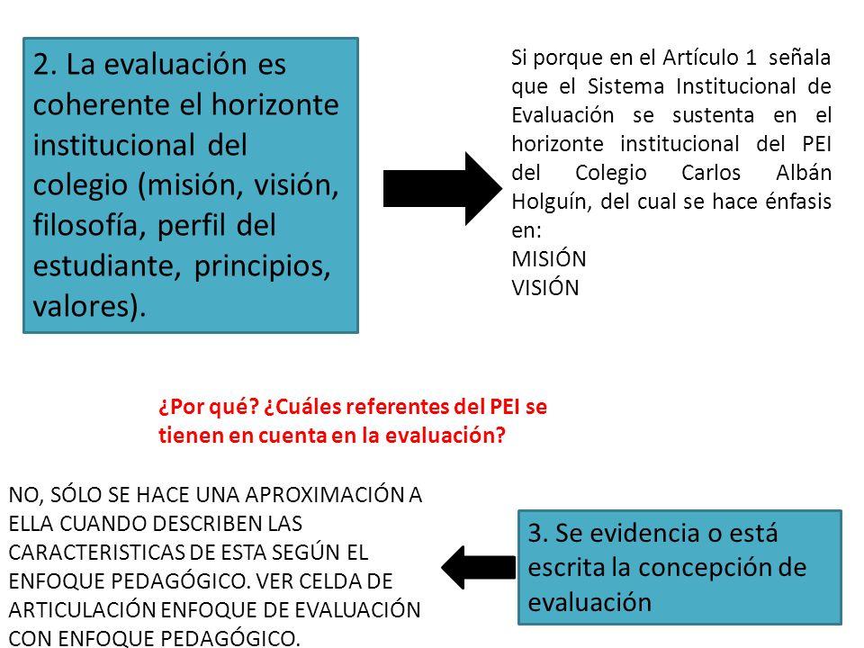 2. La evaluación es coherente el horizonte institucional del colegio (misión, visión, filosofía, perfil del estudiante, principios, valores).
