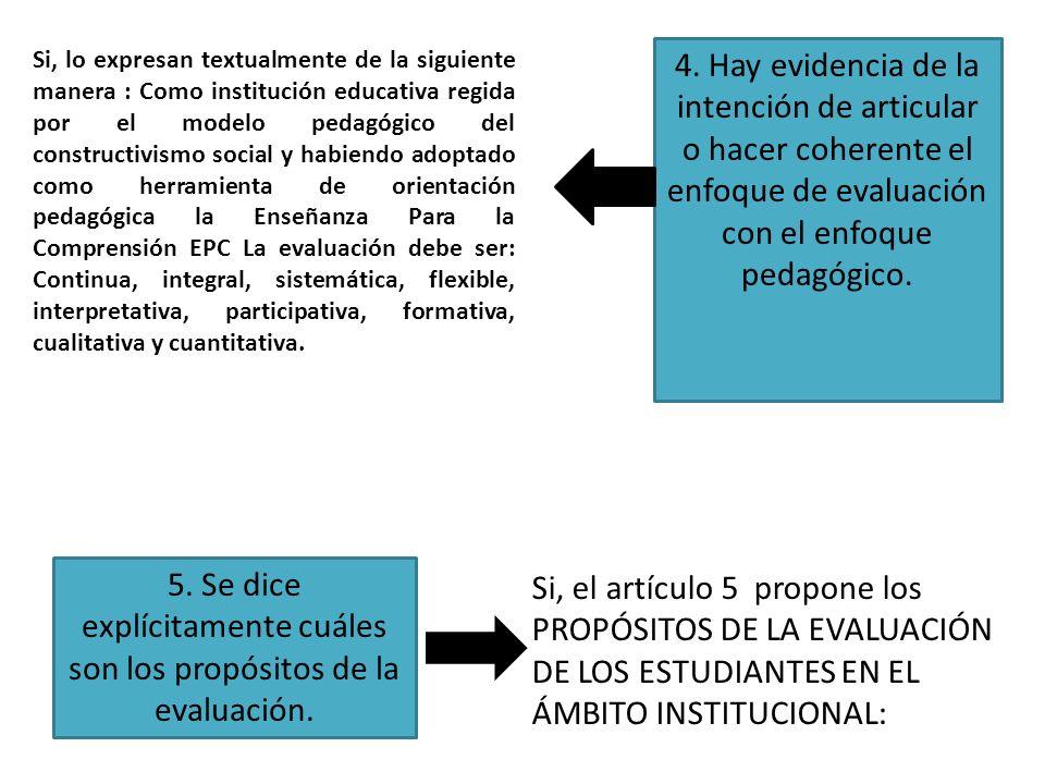 5. Se dice explícitamente cuáles son los propósitos de la evaluación.