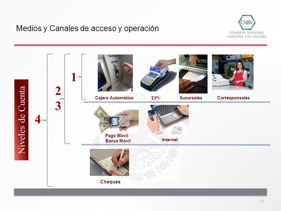 1 2 3 4 Niveles de Cuenta Medios y Canales de acceso y operación TPV