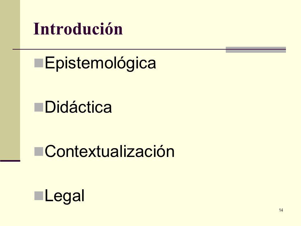 Introdución Epistemológica Didáctica Contextualización Legal