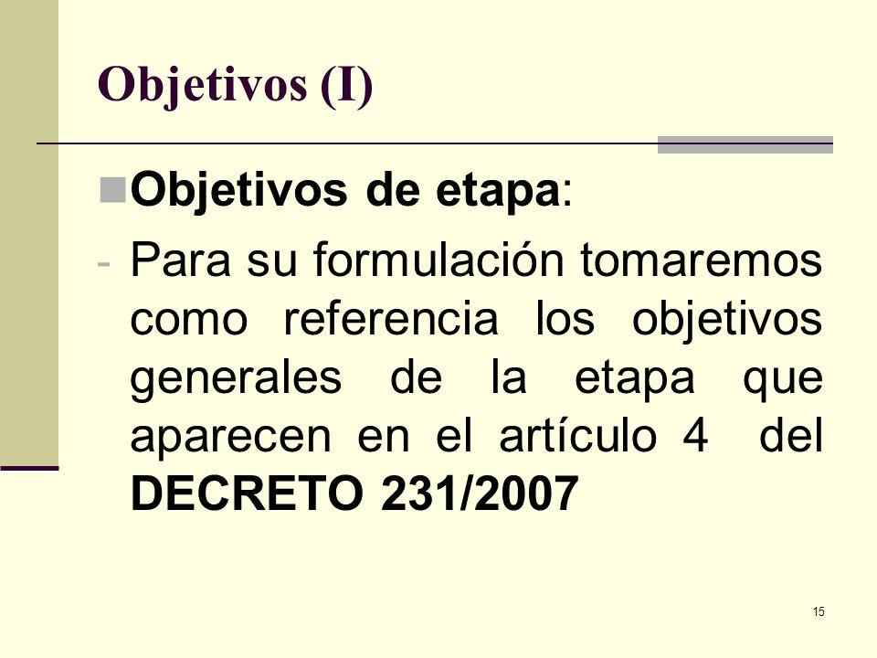Objetivos (I) Objetivos de etapa: