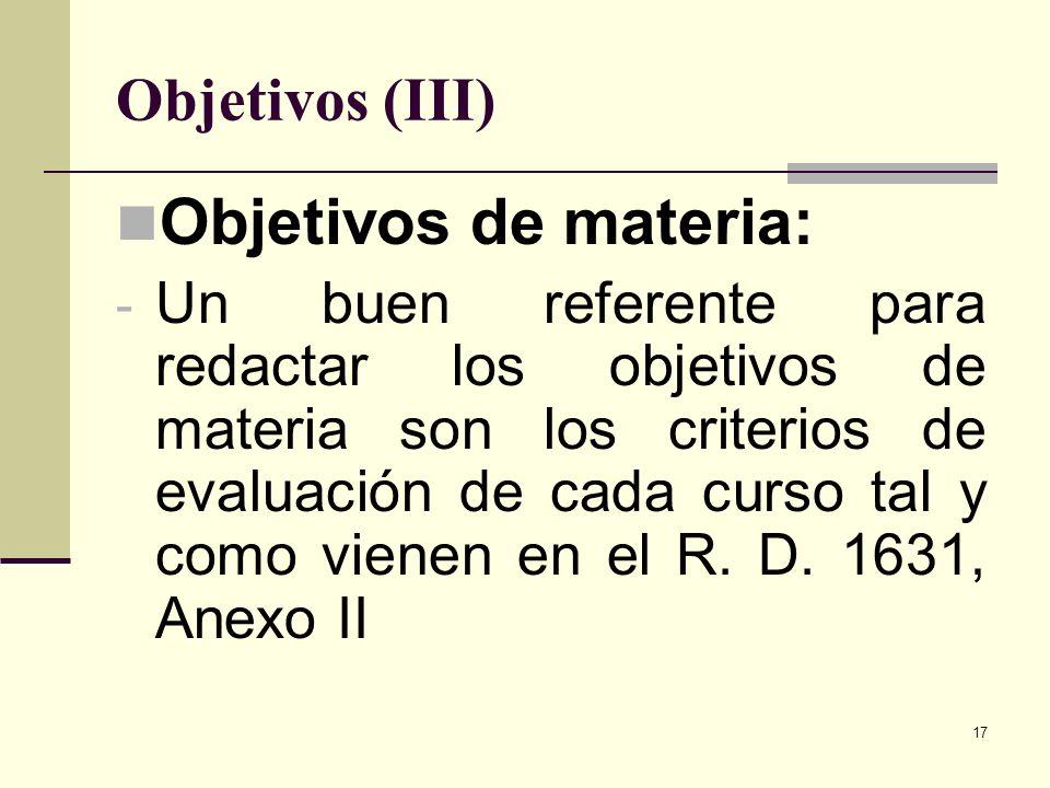 Objetivos de materia: Objetivos (III)