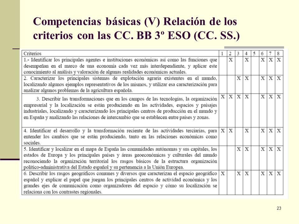 Competencias básicas (V) Relación de los criterios con las CC