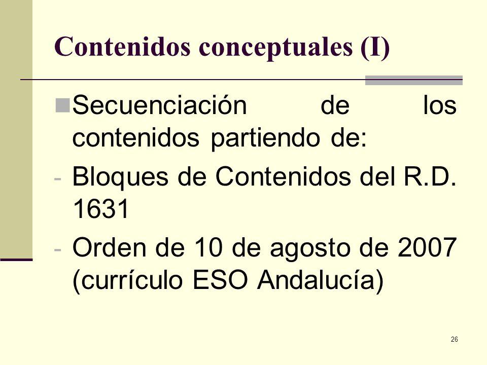 Contenidos conceptuales (I)