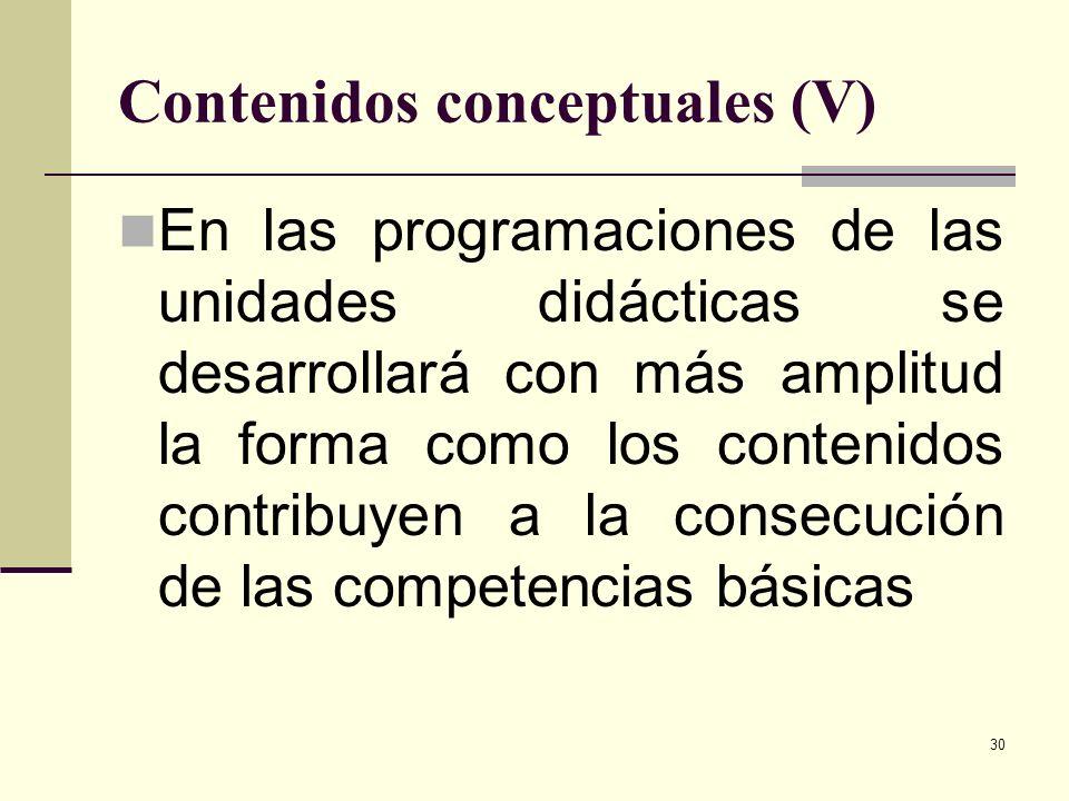 Contenidos conceptuales (V)
