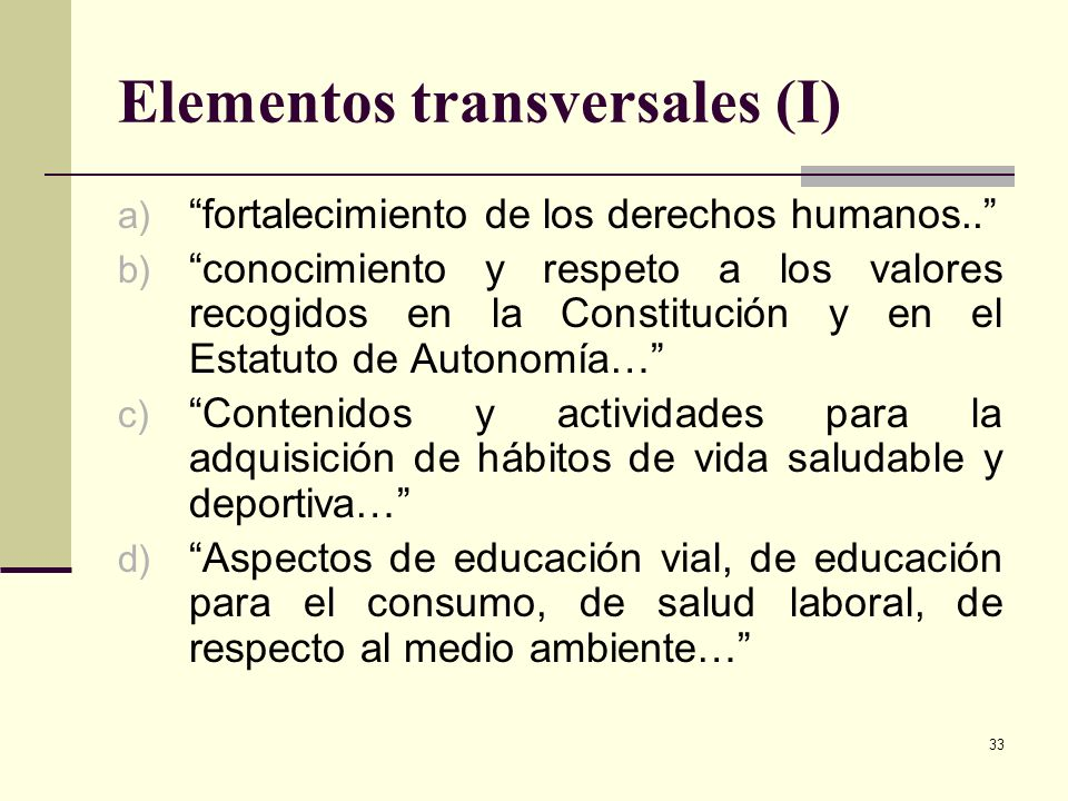 Elementos transversales (I)