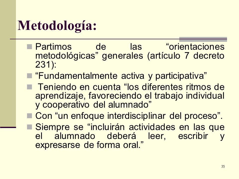 Metodología:Partimos de las orientaciones metodológicas generales (artículo 7 decreto 231): Fundamentalmente activa y participativa