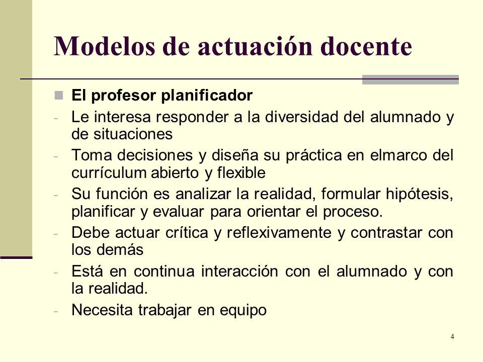 Modelos de actuación docente
