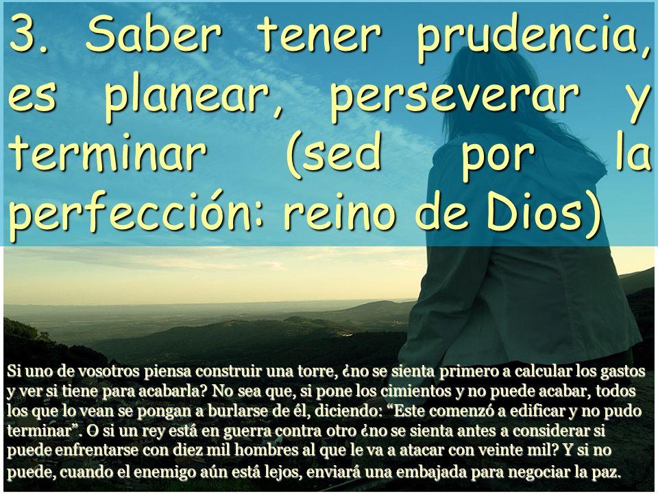 3. Saber tener prudencia, es planear, perseverar y terminar (sed por la perfección: reino de Dios)